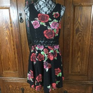 Free People Black w/Red Rose Fit & Flare Dress